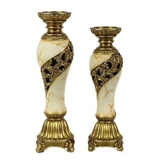 D'Lusso Designs Candida Design Two Piece Hurricane Candlestick Set