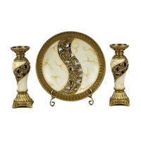 D'Lusso Designs Candida Collection Four Piece Charger, Stand And Two Candlestick Set