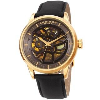 Akribos XXIV Men's Automatic Skeletal Gold-Tone Black Leather Strap Watch
