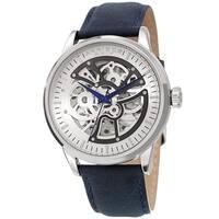 Akribos XXIV Men's Automatic Skeletal Blue Leather Strap Watch