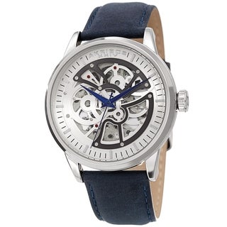 Akribos XXIV Men's Automatic Skeletal Blue Leather Strap Watch