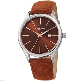 Akribos XXIV Men's Classic Date Brown Suede Leather Strap Watch