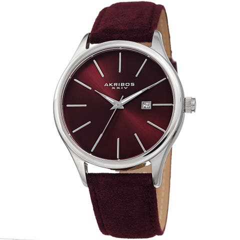 Akribos XXIV Men's Classic Date Red Suede Leather Strap Watch