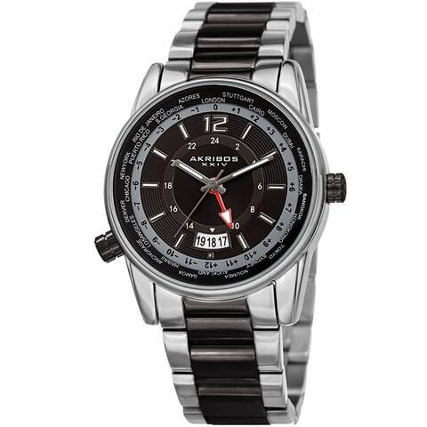 Akribos XXIV Men's GMT Date World Timer Two-Tone Bracelet Watch