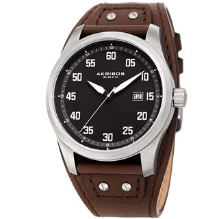 Akribos XXIV Men's Date Sport Style Husky Brown Leather Strap Watch