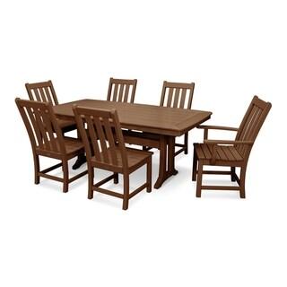 POLYWOOD® Vineyard 7-Piece Outdoor Nautical Trestle Dining Set