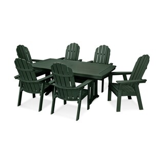POLYWOOD® Vineyard Adirondack Chair 7-Piece Nautical Trestle Dining Set