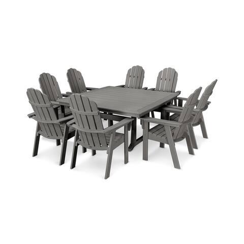 POLYWOOD® Vineyard Adirondack 9-Piece Nautical Trestle Dining Set