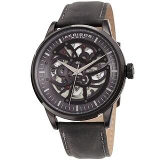 Akribos XXIV Men's Automatic Skeletal Black Leather Strap Watch