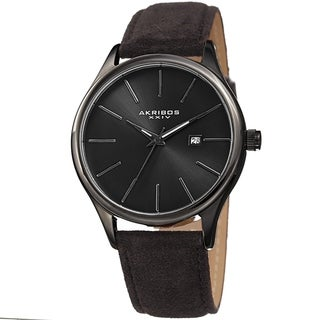 Akribos XXIV Men's Classic Date Black Suede Leather Strap Watch