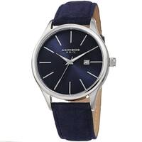 Akribos XXIV Men's Classic Date Blue Suede Leather Strap Watch