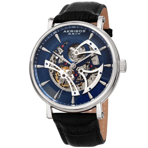 Akribos XXIV Men's Automatic Skeletal Black Leather Strap Watch
