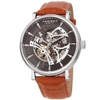 Akribos XXIV Men's Automatic Skeletal Brown Leather Strap Watch