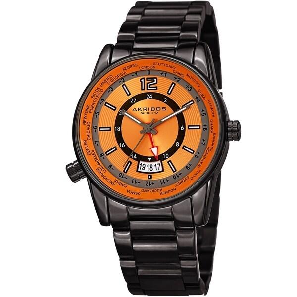 Akribos XXIV Men's GMT Date World Timer Grey Bracelet Watch. Opens flyout.