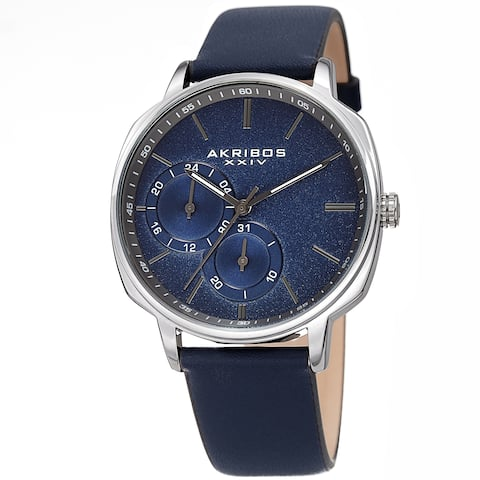 Akribos XXIV Men's Date Grained Dial Blue Leather Strap Watch