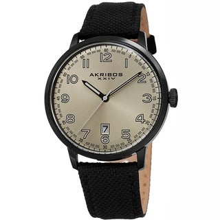 Akribos XXIV Men's Date Black Canvas Leather Strap Watch