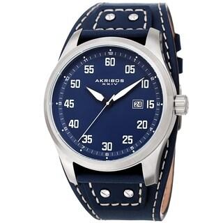 Akribos XXIV Men's Date Sport Style Husky Blue Leather Strap Watch