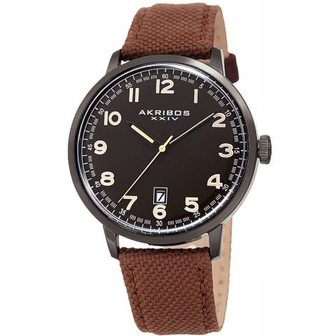 Akribos XXIV Men's Date Brown Canvas Leather Strap Watch