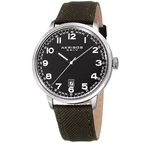 Akribos XXIV Men's Date Olive Green Canvas Leather Strap Watch