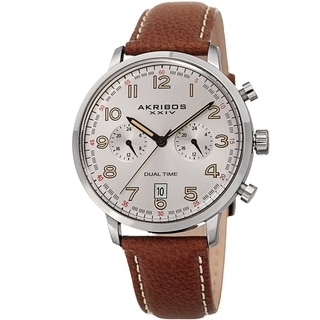 Link to Akribos XXIV Men's Chronograph Date Brown Leather Strap Watch Similar Items in Men's Watches