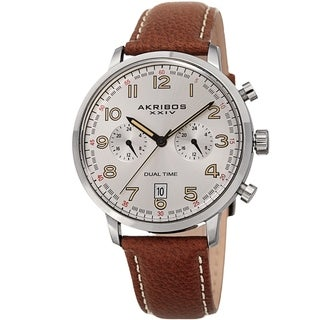 Akribos XXIV Men's Chronograph Date Brown Leather Strap Watch