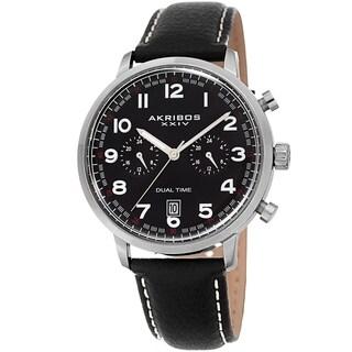 Akribos XXIV Men's Chronograph Date Black Leather Strap Watch