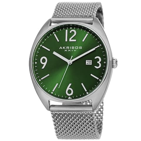 Akribos XXIV Men's Date Green Stainless Steel Mesh Strap Watch