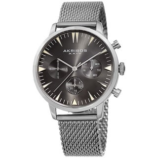 Akribos XXIV Men's Grey Day Date Stainless Steel Mesh Strap Watch