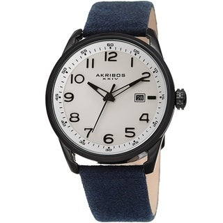 Akribos XXIV Men's Blue Date Easy-to-Read Leather Suede Strap Watch