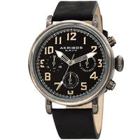 Akribos XXIV Men's Ancient Black Chronograph Date Leather Strap Watch