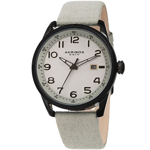 Akribos XXIV Men's Grey Date Easy-to-Read Leather Suede Strap Watch