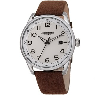 Akribos XXIV Men's Brown Date Easy-to-Read Leather Suede Strap Watch