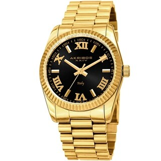 Akribos XXIV Men's Gold-Tone Italy Designed Curved Links Bracelet Watch