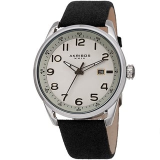 Akribos XXIV Men's Black Date Easy-to-Read Leather Suede Strap Watch