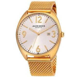 Akribos XXIV Men's Date Gold-Tone Stainless Steel Mesh Strap Watch