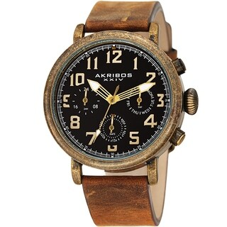 Akribos XXIV Men's Green Chronograph Date Leather Strap Watch