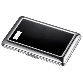 Visol Avery Brushed Two Tone Black and Chrome Business Card Holder