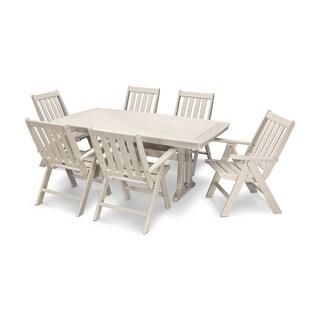 POLYWOOD® Vineyard 7-Piece Nautical Trestle Folding Dining Set