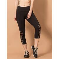 Women's Mesh Trim Yoga Performance Running Fitness Compression Legging