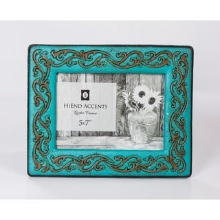 HiEnd Accents Turquoise Leather Scrolled Picture Frame, 5x7