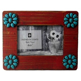 HiEnd Accents Red Picture Frame with Turquoise Squash Blossom Corners, 4x6