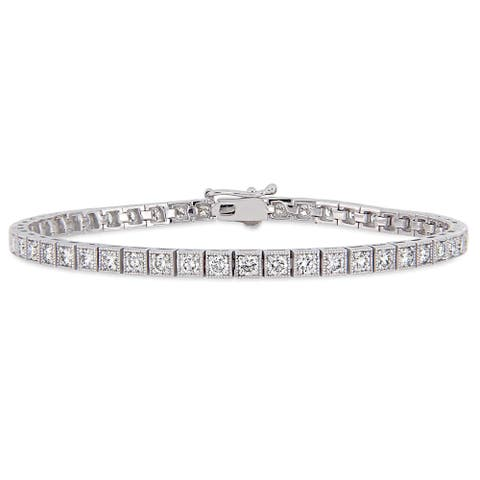 Miadora Signature Collection 14k White Gold 3 1/2ct TDW Diamond Tennis Bracelet