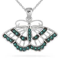 1/5 Carat TW Blue Diamond Butterfly Pendant in 10K White Gold