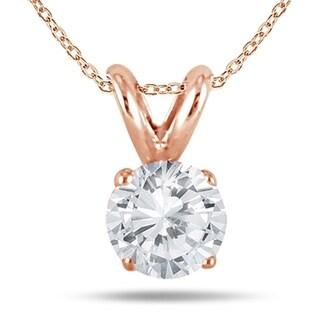 1 2 Carat Diamond Solitaire Pendant In 10K Rose Gold