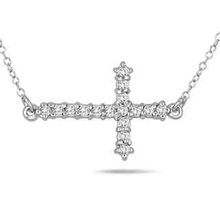 1 6 Carat TW Diamond Cross Pendant In 10K White Gold