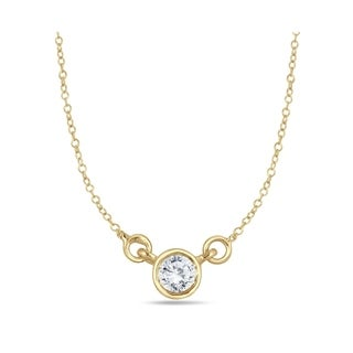 1/4 Carat Diamond Bezel Pendant in 14K Yellow Gold