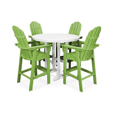 POLYWOOD® Vineyard Adirondack Chair 5-Piece Nautical Trestle Outdoor Bar Set with Table