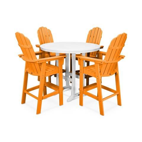 POLYWOOD® Vineyard Adirondack Chair 5-Piece Nautical Trestle Outdoor Bar Set with Table
