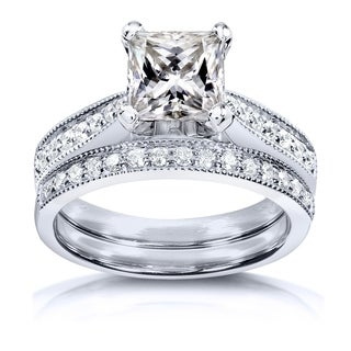 Annello by Kobelli Princess Moissanite and Diamond Vintage Bridal Set 2 1/8 CTW 14k White Gold