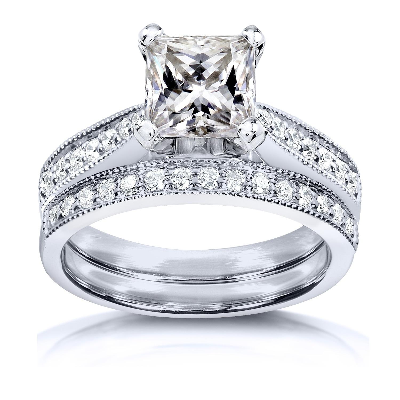 antique engagement bridal ring 3carat princess shape diamond 14k white gold over